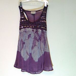 About A Girl RacerBack Tie Dye Sequins Tunic XS.